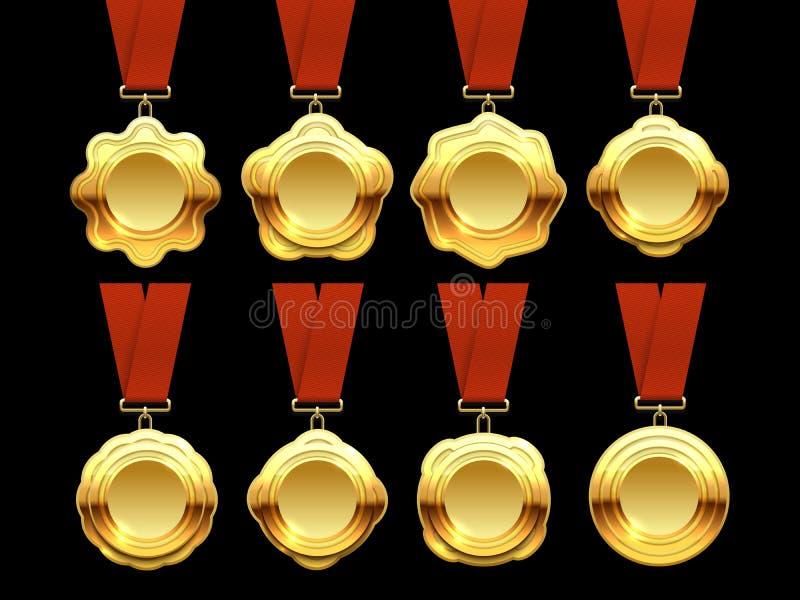 Gouden medailles vectorinzameling op rode linten royalty-vrije illustratie