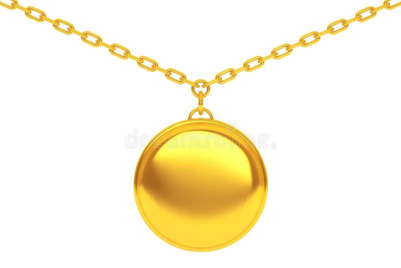 Gouden Medaillon op ketting het 3d teruggeven vector illustratie