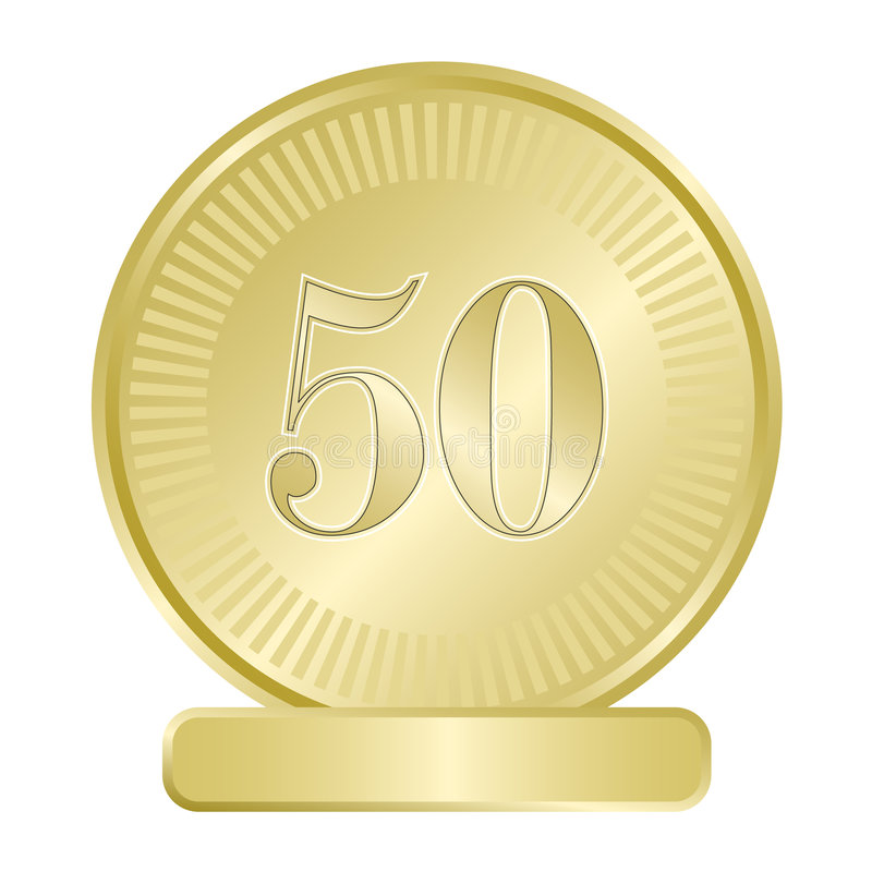 Gouden Medaillon Vijftig royalty-vrije illustratie