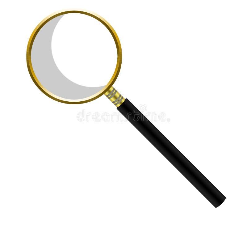 Gouden meer magnifier op witte achtergrond royalty-vrije stock fotografie