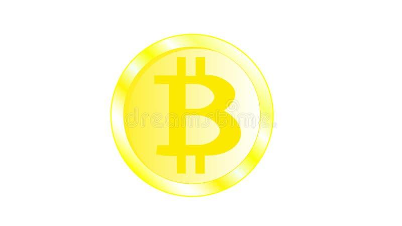 Gouden metaal mooi helder flikkerend geel muntstuk bitcoin met volumetrische randen Obvers van een muntstuk bitcoat op een witte  vector illustratie