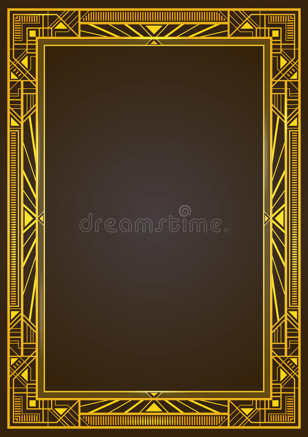 Gouden metaal rechthoekig retro kader royalty-vrije illustratie