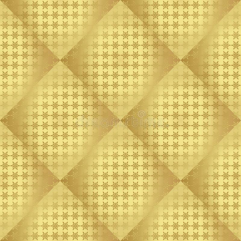 Gouden metaal regelmatig naadloos patroon stock illustratie