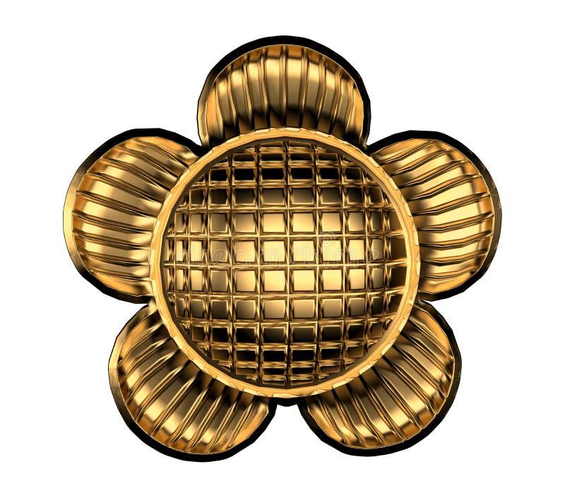 Gouden metaalbloem op het witte 3d teruggeven als achtergrond royalty-vrije illustratie
