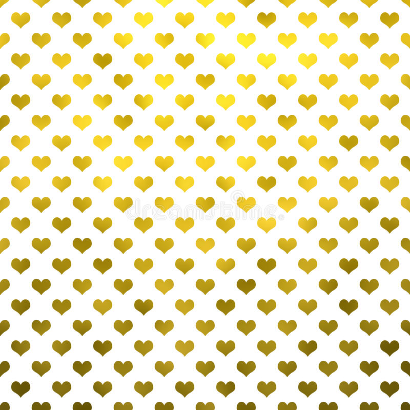 Gouden Metaalhartenpolka Dot Pattern Hearts White Background stock illustratie