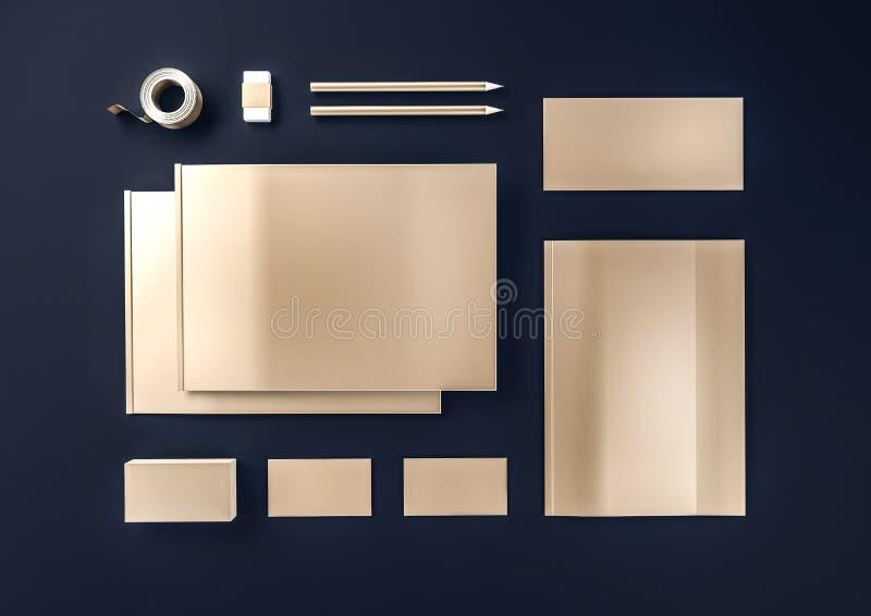 Gouden metaalspot omhoog voor bedrijfsidentiteit stock fotografie