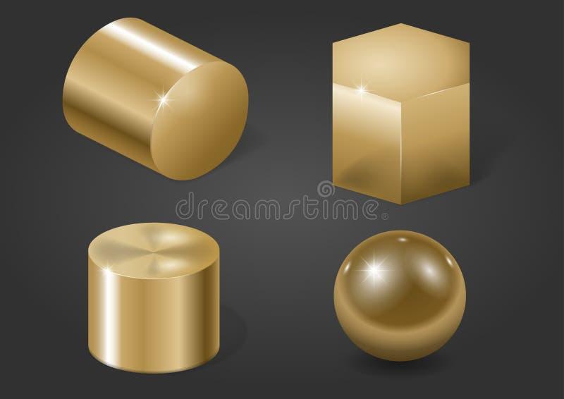 Gouden metaalvormen vector illustratie