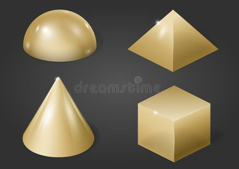 Gouden metaalvormen royalty-vrije illustratie