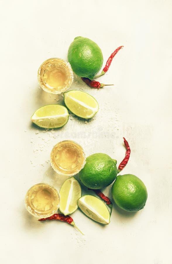 Gouden Mexicaanse tequila met kalk en zoute, witte barteller, de achtergrond van de de zomerdrank, hoogste mening royalty-vrije stock afbeeldingen