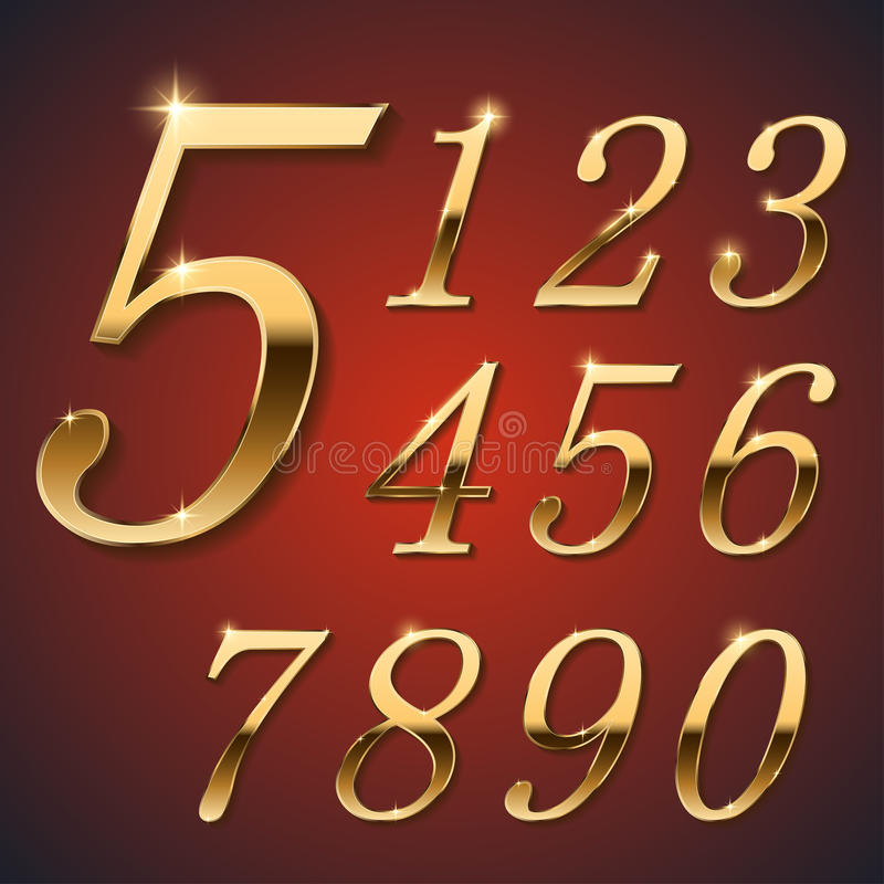 Gouden modieuze cijfers royalty-vrije illustratie