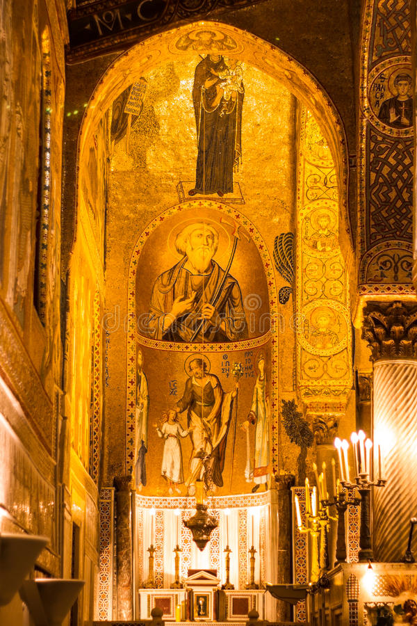 Gouden mozaïek in de kerk van La Martorana, Palermo, Italië royalty-vrije stock fotografie