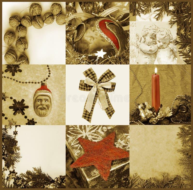 Gouden mozaïek met Kerstmismotieven royalty-vrije stock afbeelding