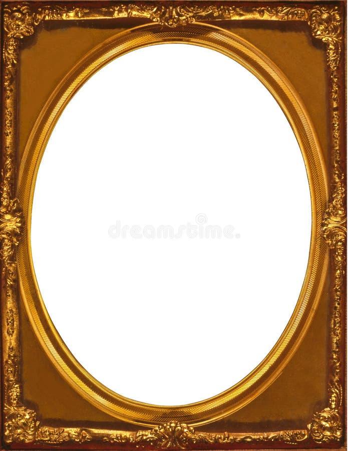Gouden multilayered kader binnenovaal binnen een rechthoekig kader royalty-vrije stock foto