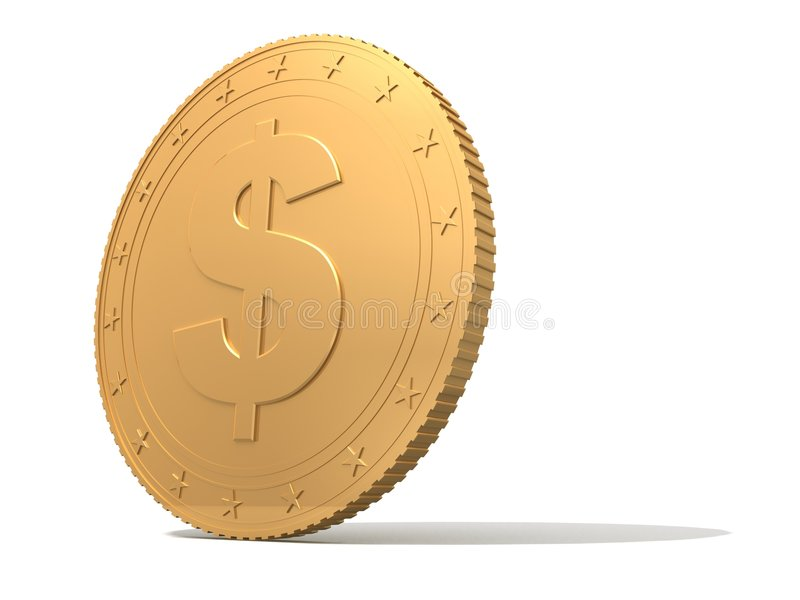 Gouden muntstuk stock illustratie