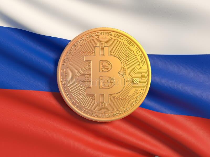 Gouden muntstuk Bitcoin tegen de achtergrondvlag van Rusland Symbolisch beeld van virtuele munt stock illustratie