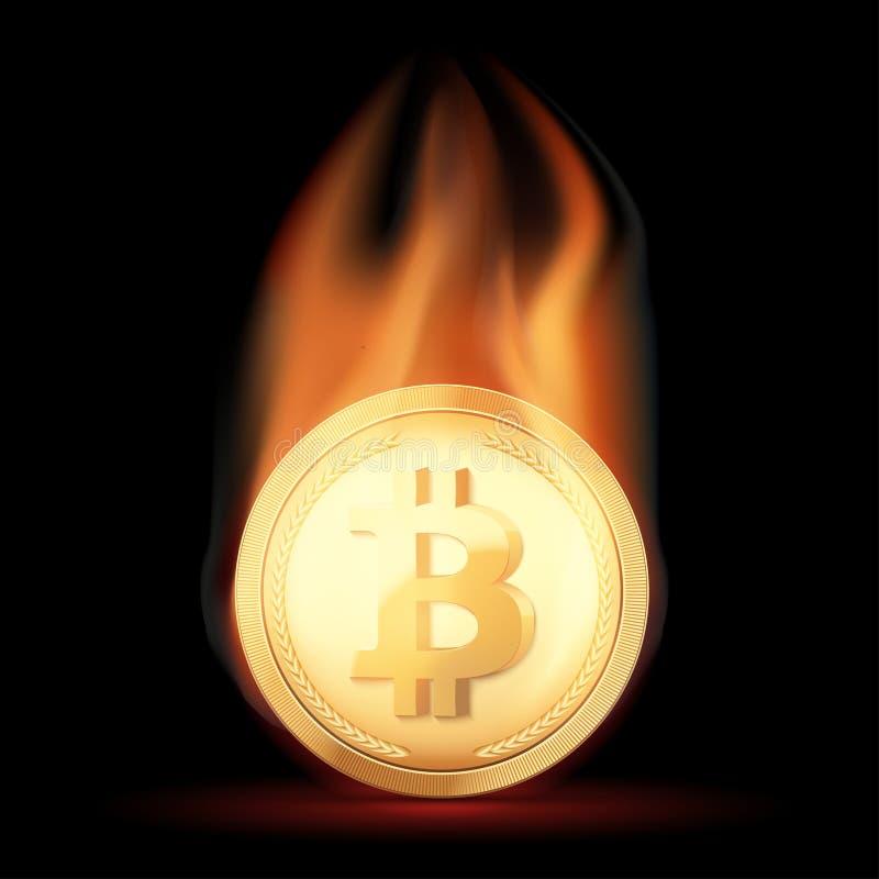Gouden muntstuk met Bitcoin-cryptocurrency in vlam royalty-vrije illustratie