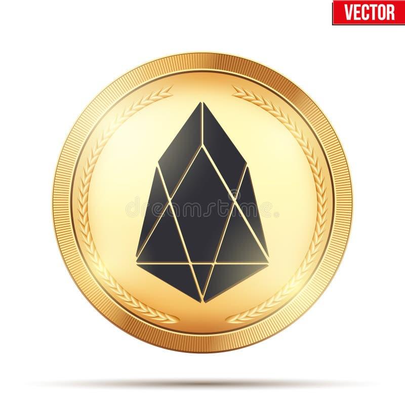 Gouden muntstuk met EOS-cryptocurrencyteken stock illustratie