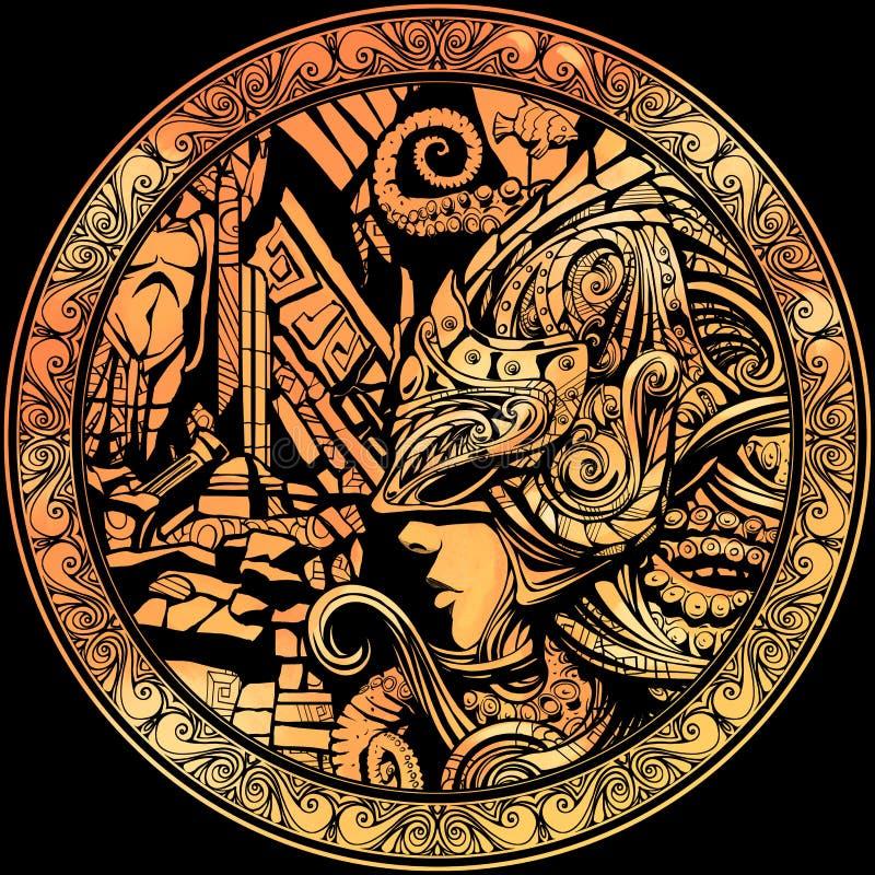 Gouden muntstuk met het beeld van een ridder royalty-vrije illustratie