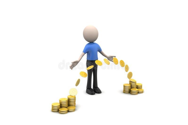 gouden muntstuk met het concept van de menseninvestering stock illustratie