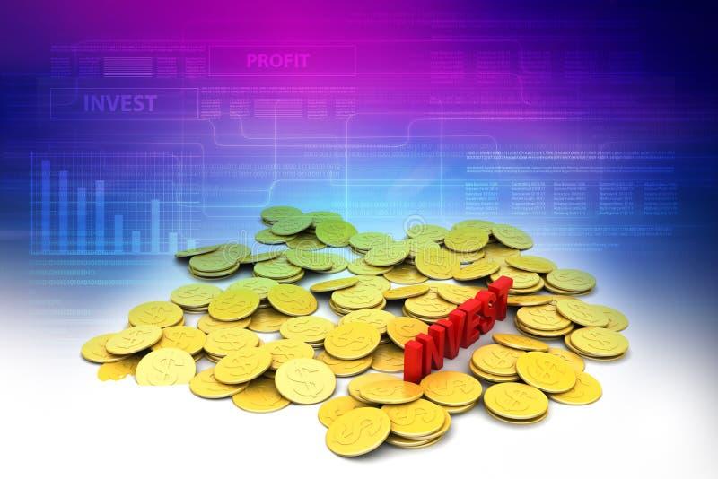 gouden muntstuk met investeringsconcept vector illustratie