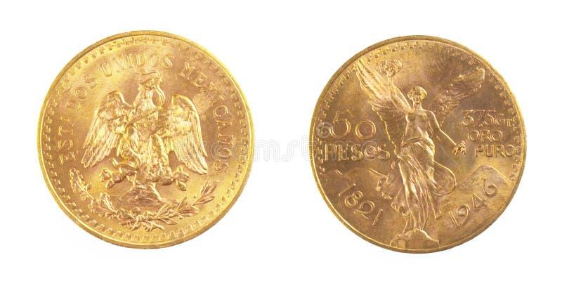 Gouden muntstuk van Mexiacan-Peso's stock afbeeldingen