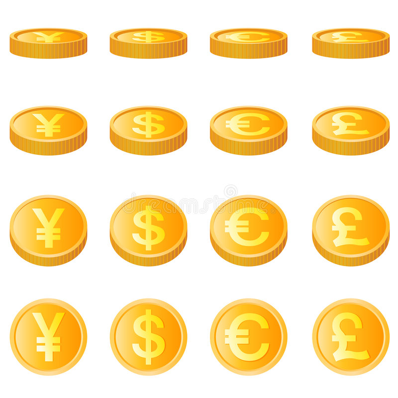 Gouden muntstuk, vier munteenheidsvector