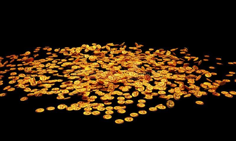 Gouden muntstukken stock illustratie