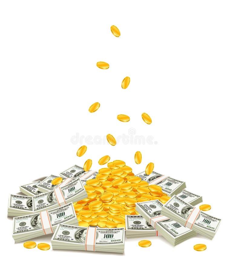 Gouden muntstukken die neer op stapel van dollarpakken dalen stock illustratie
