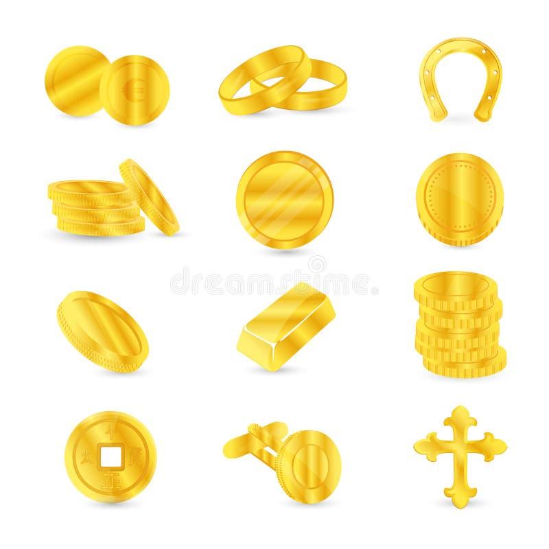 Gouden muntstukken en gouden punten: cufflinks, juwelen, godsdienstige toebehoren royalty-vrije illustratie
