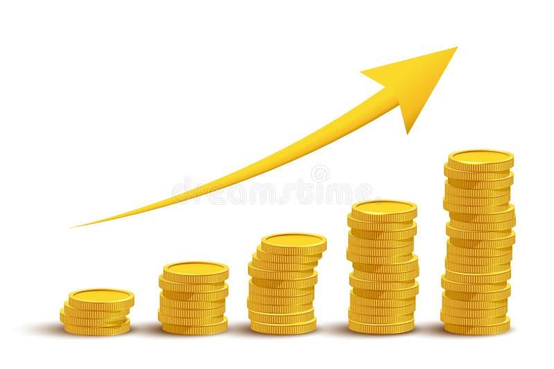 Gouden muntstukken en pijl op grafiek Vector illustratie vector illustratie