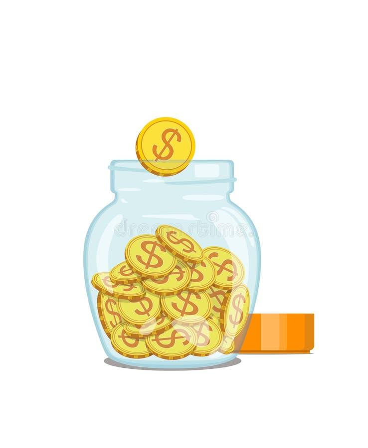 Gouden muntstukken, in glaskruik Geld Vector illustratie vector illustratie