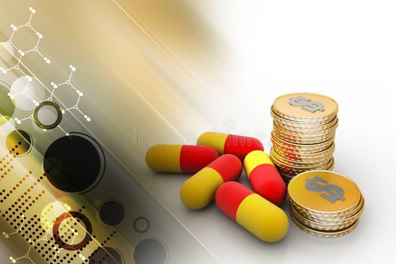 Gouden muntstukken met geneeskunde stock illustratie