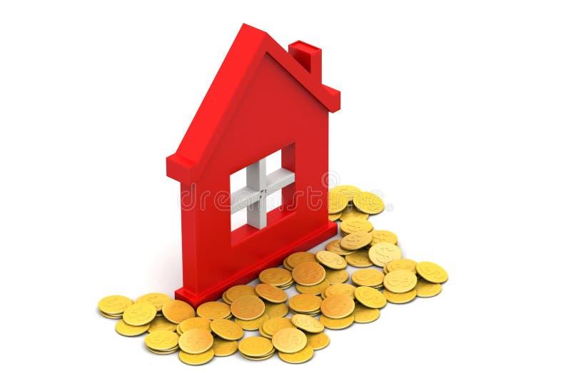 Gouden muntstukken met huis stock illustratie