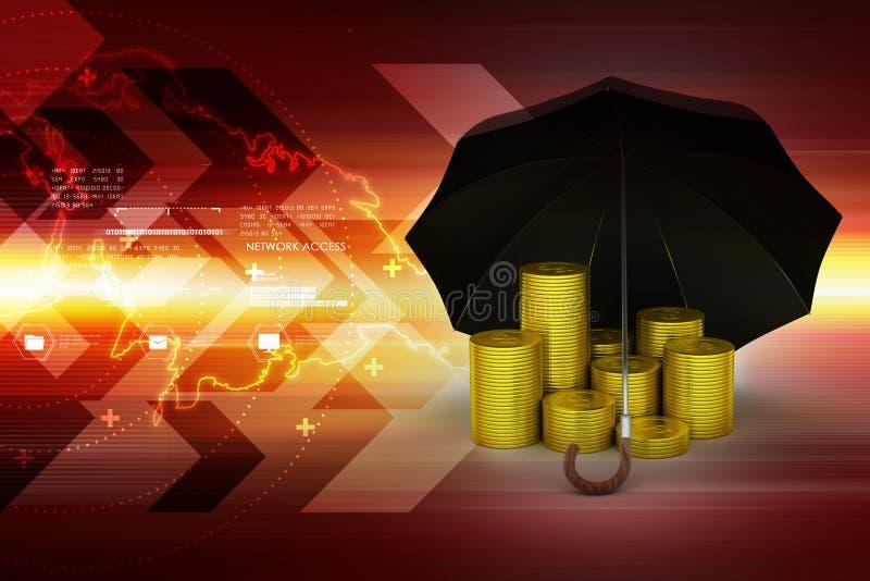 Gouden muntstukken onder een zwarte paraplu royalty-vrije illustratie