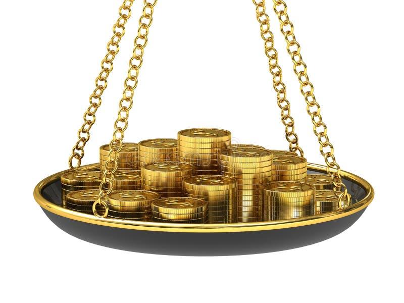 Gouden muntstukken op de schalen. vector illustratie