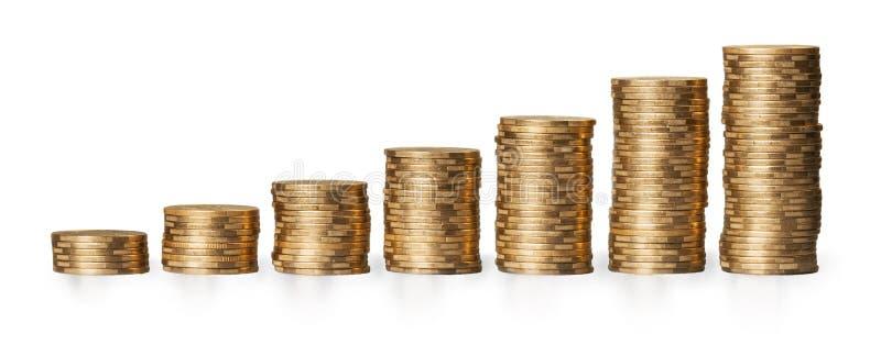 Gouden muntstukkenstapels op een witte achtergrond royalty-vrije stock fotografie
