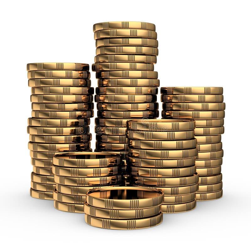 Gouden muntstukstapel stock illustratie