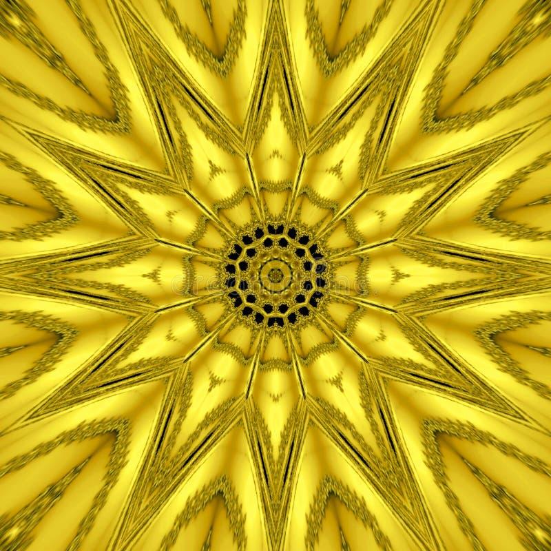 Gouden mythische caleidoscoop, gouden ster lichteffect stock afbeeldingen