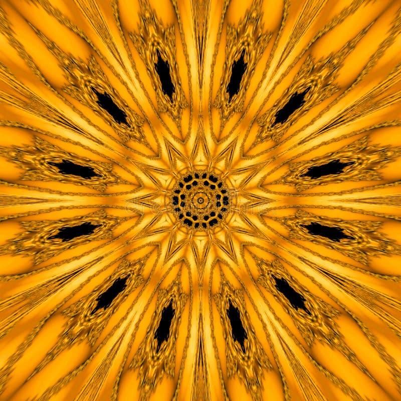 Gouden mythische caleidoscoop in vorm van gouden zonmandala, geometrische fractal royalty-vrije stock foto's