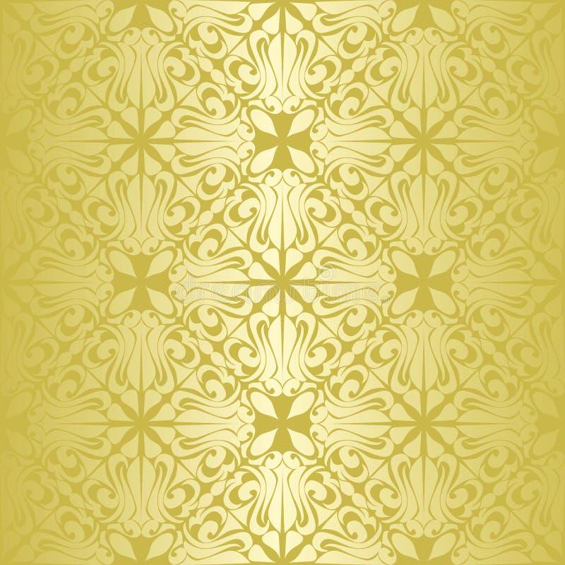 Gouden naadloos behang. stock illustratie