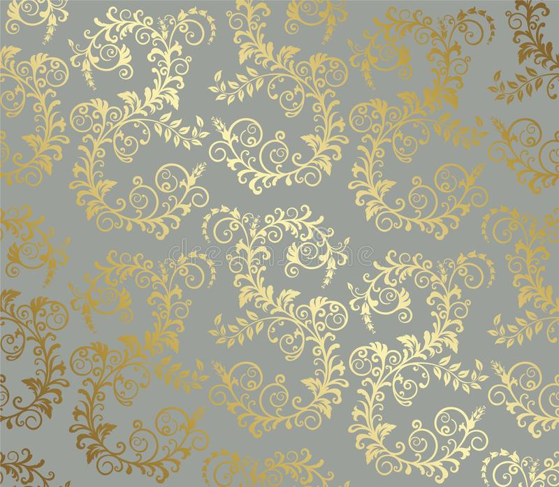 Gouden naadloos gebladertepatroon op grijze achtergrond stock illustratie