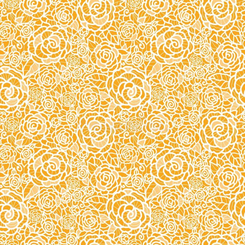 Gouden naadloze het patroonachtergrond van kantrozen royalty-vrije illustratie