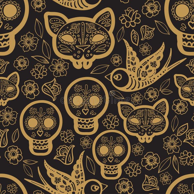 Gouden naadloze patroondag van de Doden vector illustratie
