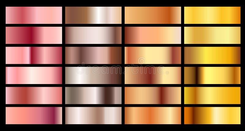 Gouden nam, brons, de zilveren en gouden achtergrond van de textuurgradiënt toe De inzameling van het het paletkoper van het meta vector illustratie