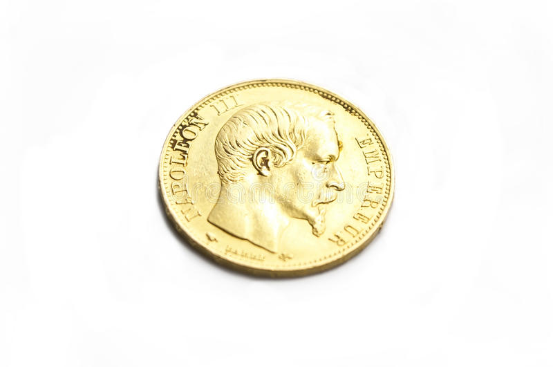 Gouden napoleon III muntstuk royalty-vrije stock foto's