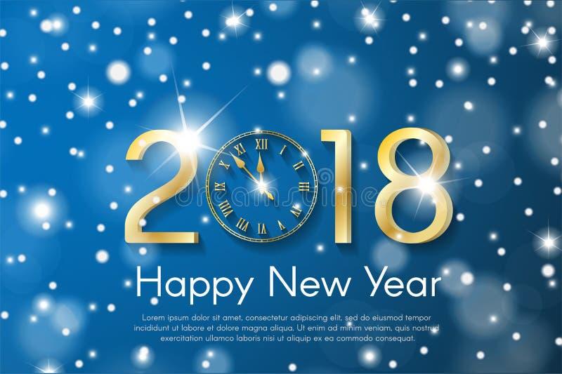 Gouden Nieuwjaar 2018 concept op blauwe sneeuw onscherpe achtergrond de vectorillustratie van de groetkaart vector illustratie