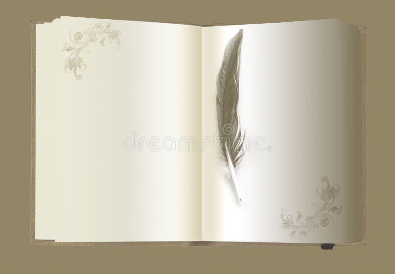 Gouden notaboek met veer stock illustratie