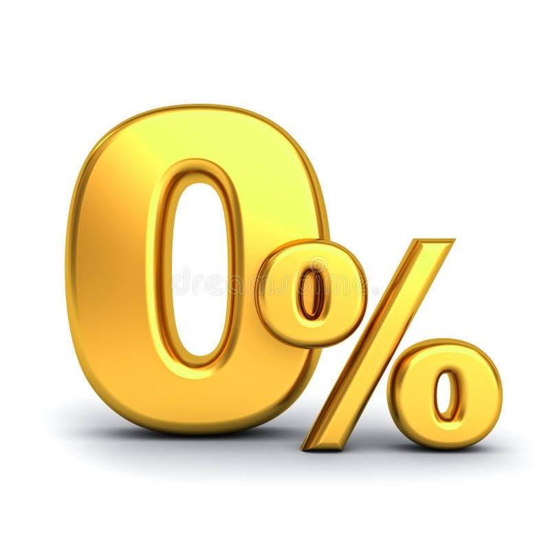 Gouden nul die percenten of 0% over witte achtergrond worden geïsoleerd royalty-vrije illustratie