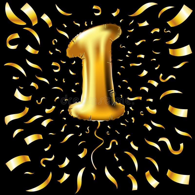 Gouden nummer één 1 eerste metaalballon De gouden ballons van de partijdecoratie Verjaardagsteken voor gelukkige vakantie, vierin vector illustratie