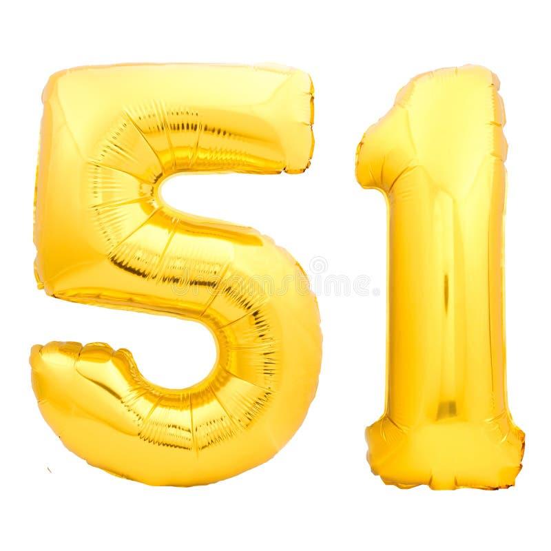 Gouden nummer 51 éénenvijftig gemaakt van opblaasbare ballon stock afbeeldingen